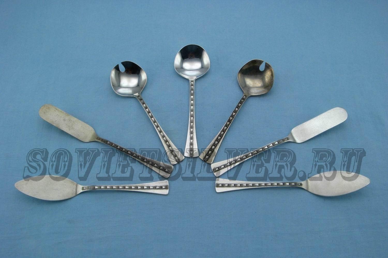 серебряные лопатки для икры, масла
