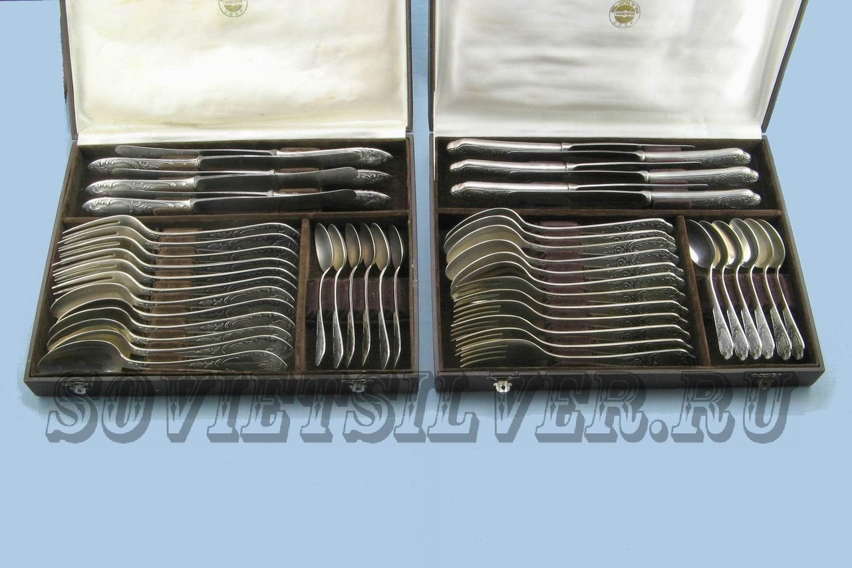 наборы из 24 предметов сервировки стола в футлярах