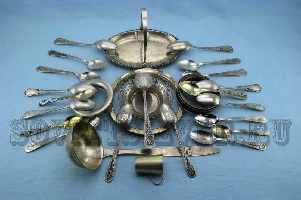 распродажа серебряных предметов сервировки стола